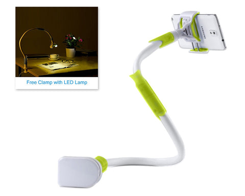 Flexible Adjustable Gooseneck Cellphone Clip Mount w/ LED Lamp - Green