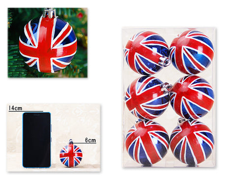 Flag Series 6 Pcs Christmas Ball Ornaments - UK Flag Pattern