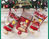 3 Pieces Grid Pattern Christmas Stockings - Red