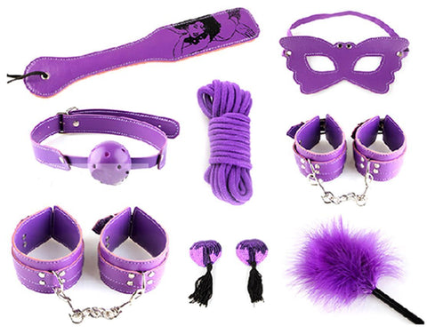 Adult SM Bondage Set with Spanking Paddle Set of 8