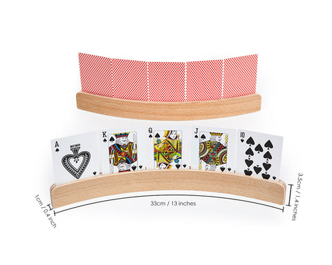 Playing Card Holders 4 Pieces 13 Inches Curved Wooden Racks for Card Games