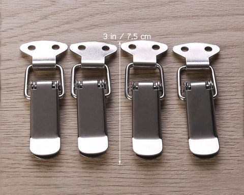 Locking Hasp 4 Pieces Loaded Chest Latch with Catch Plate