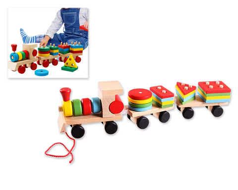 Children's Wooden Geometric Educational Toy Train