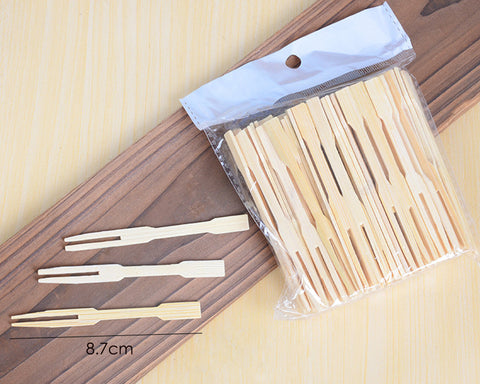 Bamboo Party Forks 100 Pieces 3.4 Inch Disposable Fruit Picks