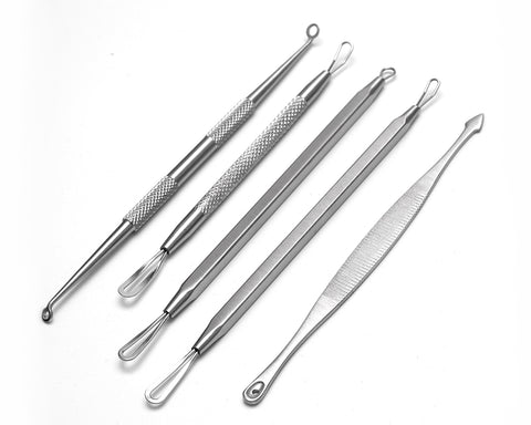 Blackhead Remover Tools 5 Pieces Pimple Extractor Kit with Metal Case