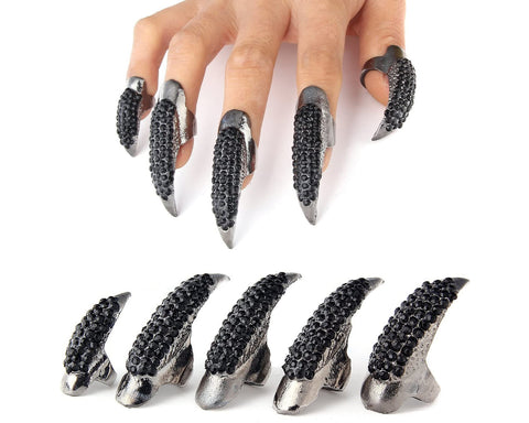 Eagle Claw Rings 10 Pieces Punk Gothic Fake Fingertip Nail for Cosplay