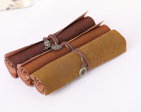 Roll up Pencil Case with Hexagonal Star Pendant PU Leather Pen Wrap