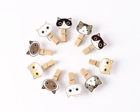 10 Pieces Cartoon Cat Photo Clip with String