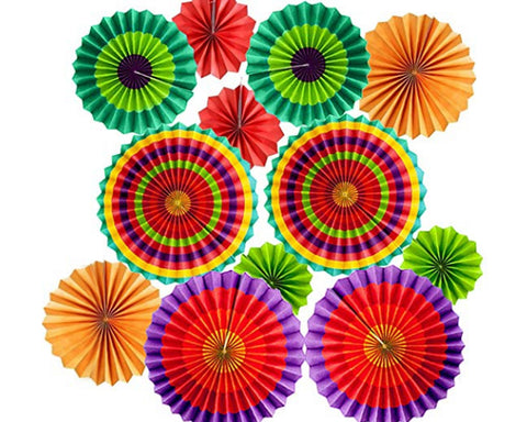Fiesta Party Decoration 12 Pieces Hanging Paper Fans for Carnival