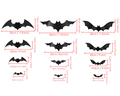 3D Wall Decal Bats Halloween Decoration 24 Pieces Wall Stickers