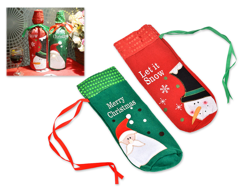 2 Pieces Wine Bottle Covers with  Santa Claus and Snowman Pattern