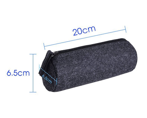 Felt Pencil Case Stationery Pouch Set of 2 - Dark Grey and Light Grey