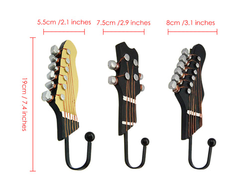 Retro Guitar Shaped Decorative Hooks 3 Pieces Wall Mounted Rack Hangers