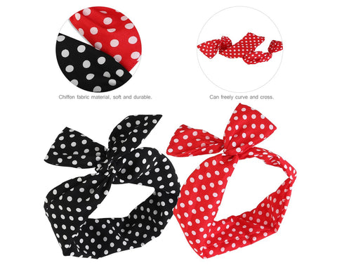 Cute Bow Headband 2 Pieces Dots Headband