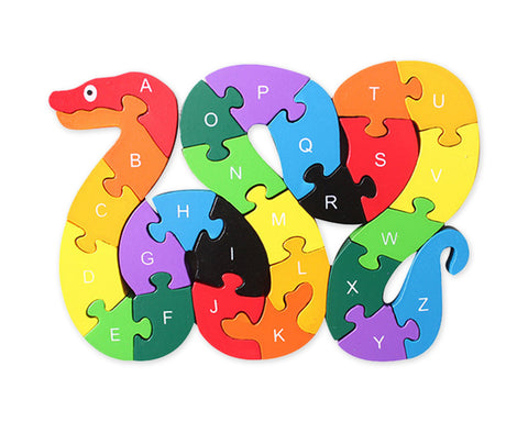 Wooden Animal Puzzles Wooden Snake Shaped Alphabet Jigsaw Puzzles for Kids