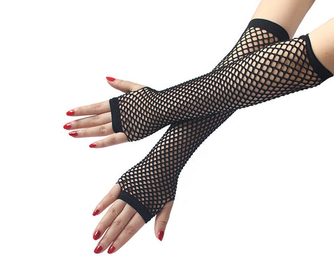 Lace Top Thigh High Fishnet Stockings and Fingerless Gloves