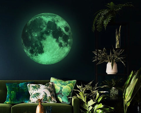 Luminous Moon Stickers with Stars Wall Decals