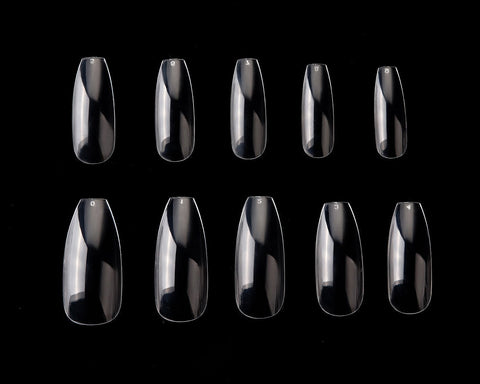 Ballerina Nail Tips 500 Pieces 10 Sizes Coffin Nails for DIY Nail Art