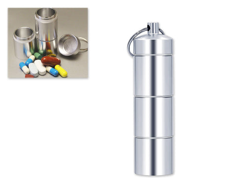 Aluminum Pill Organizer Keychain 3.3 Inches with 3 Waterproof Compartments