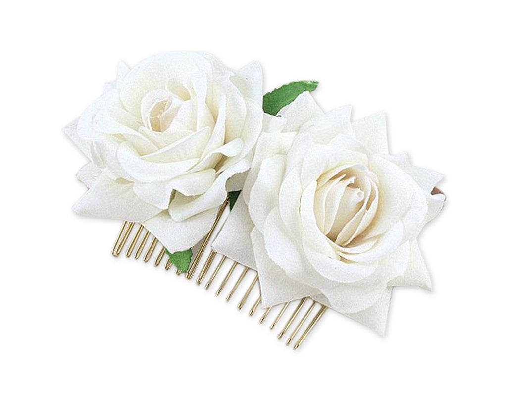 Rose Flower Hair Comb 2 Pieces Bridal Headpiece for Wedding