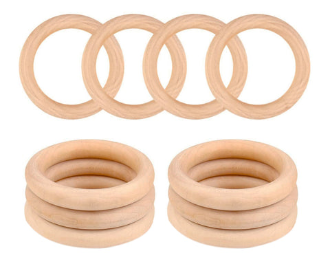 Wooden Rings for Crafts 10 Pieces 70mm Unfinished Wooden Macrame Rings