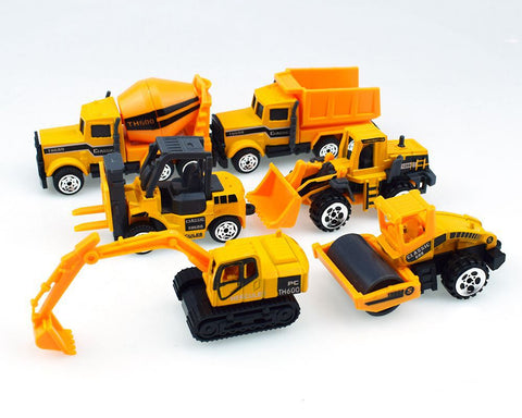 Toy Construction Vehicles Set of 6 Alloy Pull Back Vehicles