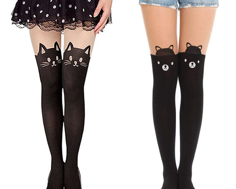 Ds. Distinctive Style Animal Tattoo Tights Japanese Style Cosplay Pantyhose, Black, XS - Cat