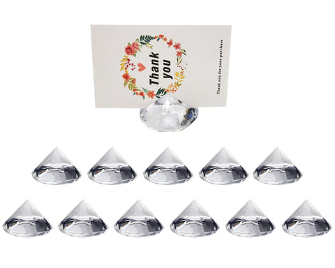 Place Card Holder 12 Pieces Acrylic Diamond Shaped Table Number Holders