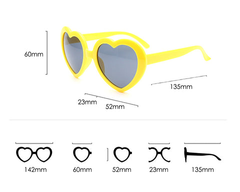 Sunglasses for Kids 6 Pieces Heart Shaped Party Glasses for Children