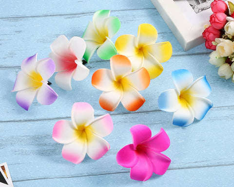 2.7 Inch Hawaiian Plumeria Hair Clips 24 Pcs Hawaii Hair Clips