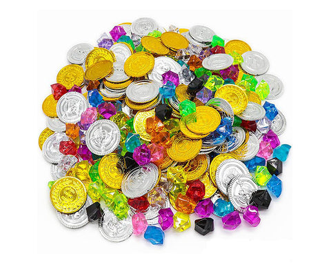 Pirate Toys 320 Pieces Plastic Treasure Coins and Pirate Gems for Party