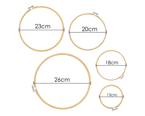 Bamboo Embroidery Hoop 5 Pieces Assorted Sizes Cross Stitch Hoop