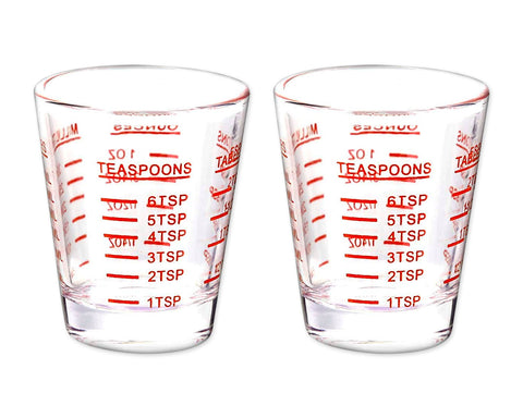 Shot Glass 2 Pieces 30ml Scaled Measuring Cups for Liquid