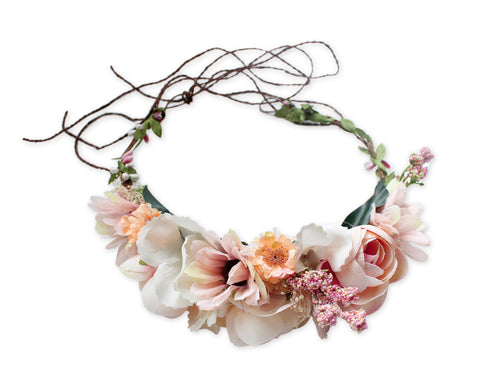 Flower Wreath Headband Adjustable Floral Crown Headpiece for Photo Shoot