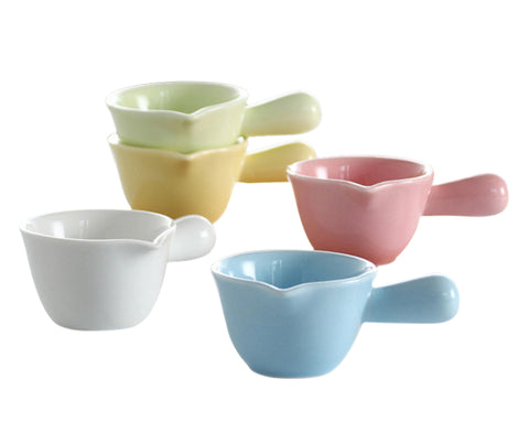 Porcelain Dipping Bowls with Handles 5 Pieces 3.38 Oz Soy Sauce Dishes