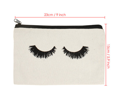 Canvas Makeup Bag 10 Pcs Eyelash Pattern Travel Cosmetic Bags with Zipper