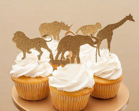 Jungle Safari Animal Cupcake Toppers 30 Pieces Glittery Cake Toppers