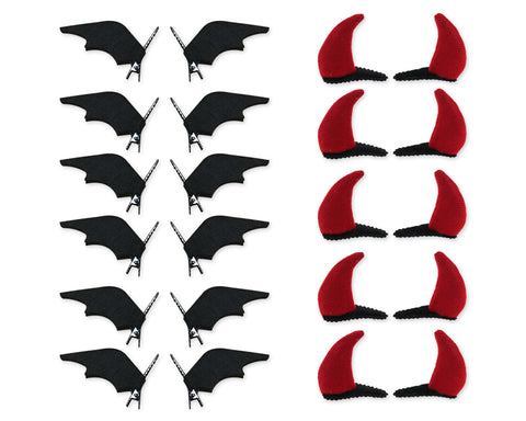 Halloween Hair Clips 12 Pairs Bat Wing and Devil Horn Hair Alligator Clips