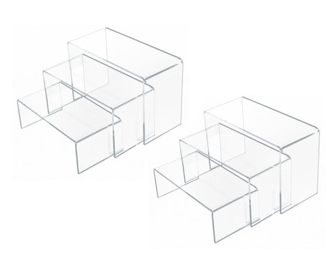 U-Shaped Acrylic Risers 3, 4 and 5 Inches Wide Set of 6 Clear Risers for Display