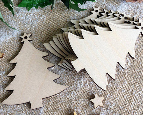 Christmas Wooden Ornaments 50 Pieces DIY Wood Slices with Strings