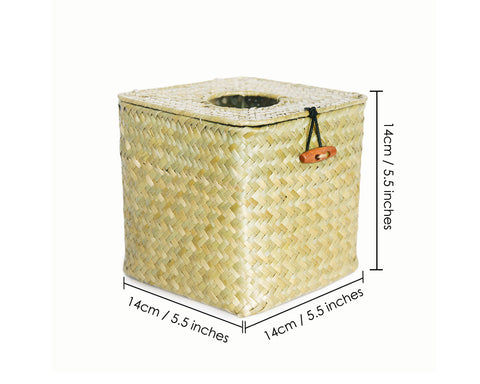 Woven Seagrass Square Tissue Box Cover 5.5 Inches Decorative Tissue Box