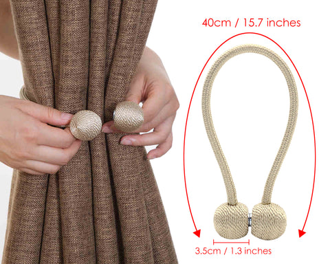 Magnetic Curtain Tie Backs 2 Pieces Rope Drapery Tiebacks