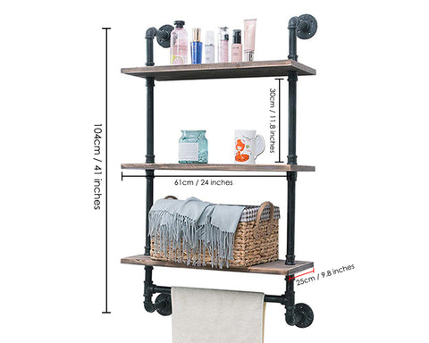 Bathroom Shelves 3 Tier Wall Mounted Book Storage Rack with Floating Pipe