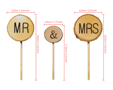Wedding Cake Topper 3 Pieces Mr & Mrs Cake Decoration for Wedding Cakes
