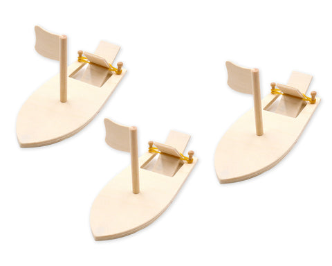 DIY Paddle Boat 3 Packs Wooden Sailboat Kit for Kids