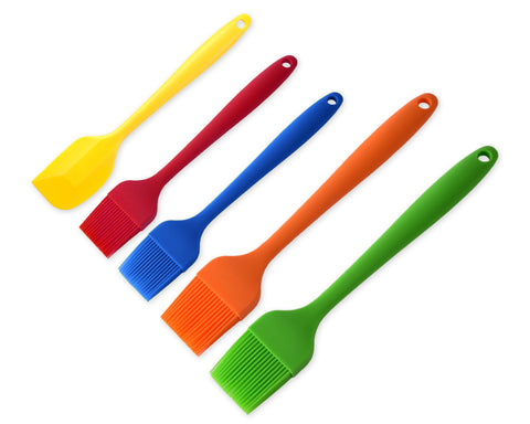 Silicone Basting Brush Set of 5 Pastry Brushes and Silicone Spatula