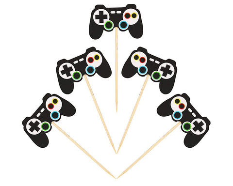 24 Pieces Video Game Controllers Cupcake Toppers Gamepad Cake Picks