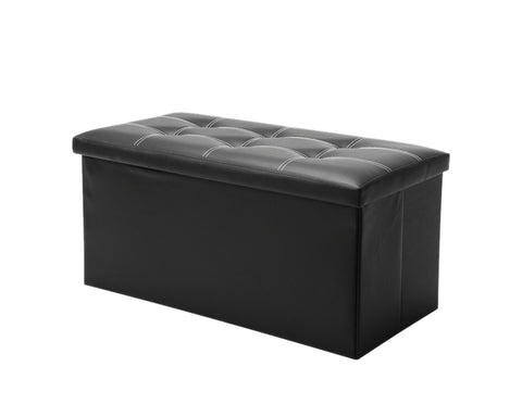 Folding Storage Ottoman Bench 30 Inches Faux Leather Storage Bench