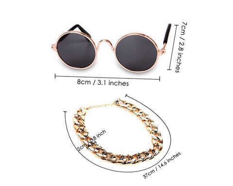 Retro Round Sunglasses with Golden Chain for Cats and Small Dogs