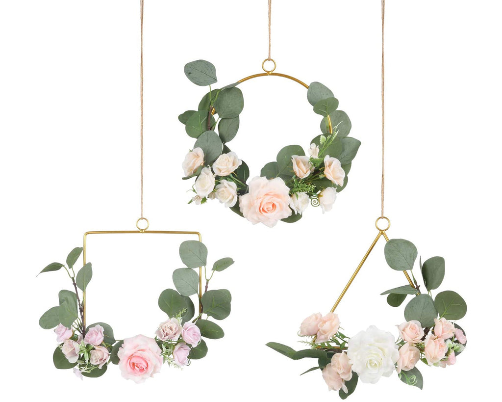 Floral Hoop Wreath 3 Pieces Metal Ring Wreath with Flower Geenery Hoop